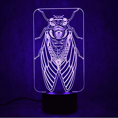 Crjzty Led Visuelle 3D Usb Kinder Kreative Geschenk Stimmungen Ändern Touch Button Tischlampe Schlafzimmer Nacht Insekt Cicada Decor Schlaf Nachtlichter