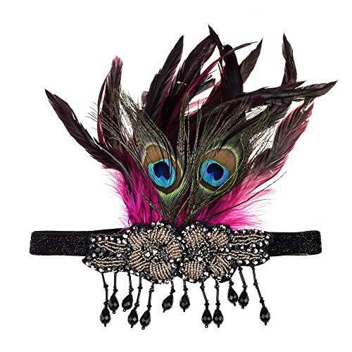 LERDBT Weiblicher Kopfschmuck Crystal Crown Frauen Vintage Flapper Kopfschmuck Feder Perlen Quaste Anhänger Stirnband Braut Für Party Prom Hochzeit Kostüm Zubehör (Farbe : Rot)