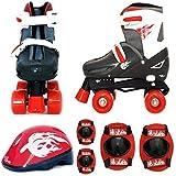 Sk8 Zone Jungen Roten Schwarz Rollschuhe Gepolstert Kinder Roller Stiefel Sicherheit Polster Helm Kinder Skate Set - Medium 13-3 (31.5-34.5 EU