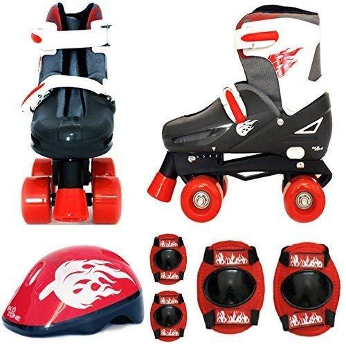 Sk8 Zone Jungen Roten Schwarz Rollschuhe Gepolstert Kinder Roller Stiefel Sicherheit Polster Helm Kinder Skate Set - Medium 13-3 (31.5-34.5 EU (Roller Boys Pads Skate)