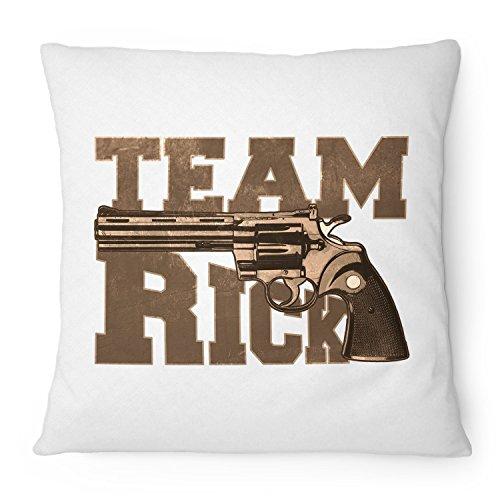 Fashionalarm Kissen Team Rick - 40x40 cm mit Füllung   Geschenk Idee für Fans der Serie T-W-D   Dead Walking Grimes Revolver Colt Python, Farbe:weiß