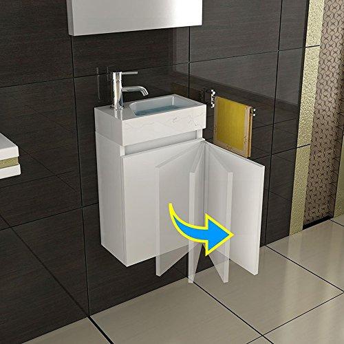 bad1a Exklusive vormontierte Badmöbel-Set in Weiß Hochglanz mit Softclose-Funktion 40×22 cm mit