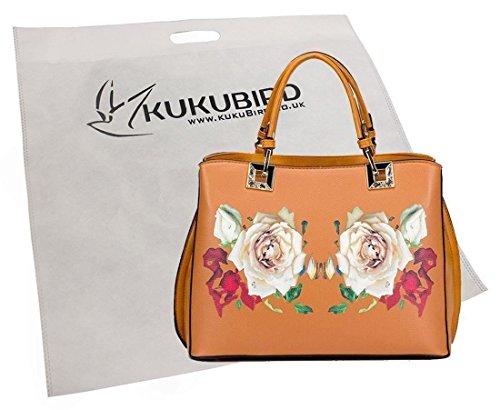 Kukubird Ciara Stampato Con Mirroring Rose Design Tote Bag Con Sacchetto Raccoglipolvere Su Yellow