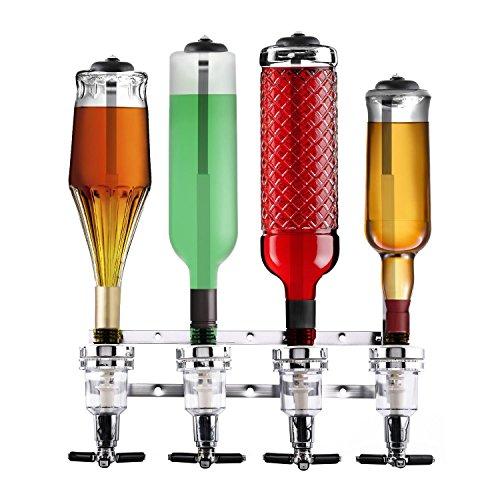 oneConcept Hazlehov Quartett Getränkespender Getränke-Dosierer Flaschenhalter (für 4 Flaschen von 0,7 bis 1 Liter, 4 Dosierer mit Schnellwechselmechanismus, Wandmontage) silber