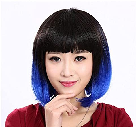 Meydlee Synthetic Straight Bob Wig with Ombre Blue at Bottom with Flat Fringe