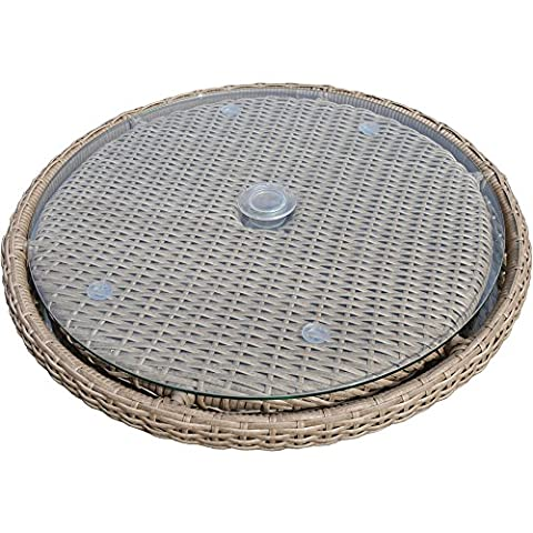 Pecan coloured Half-round weave All Weather Outdoor Synthetic Rattan Lazy Susan For Circular Dining Table