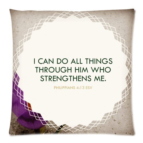 Custom Fashion Home Decor couvre-lit I Can Do All Things carré taie d'oreiller housse coussin Case 20 x 20 (2 Côtés)
