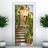 zhengboasd Salon Chambre Porte Rénover Autocollant Mural Escalier Étape Bâtiment Européen DIY Autocollant Décoratif Porte Papier Peint 77x200cm...