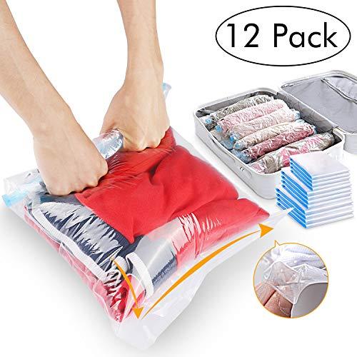 12 pcs sacchetti sottovuoto salvaspazio, 3 dimensioni sacchetti salvaspazio riutilizzabili set senza bisogno rulli di mano e risparmio di spazio per viaggio vestiti