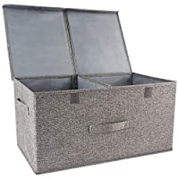 Kcilife Storage Boxes with Lids Cube Storage Box with Handles,Cotton Fabric Collapsible Storage Box,Storage Bins Baskets for Clothes Toys DVDs Art and Books, CDs,Washing Laundry Organization or More