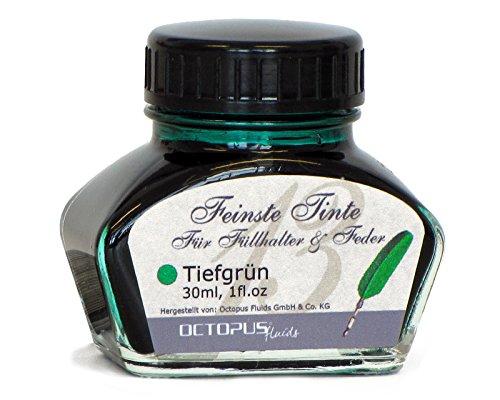 Feinste Premium Schreibtinte für Füllhalter und Schreibfedern, Tiefgrün 30ml