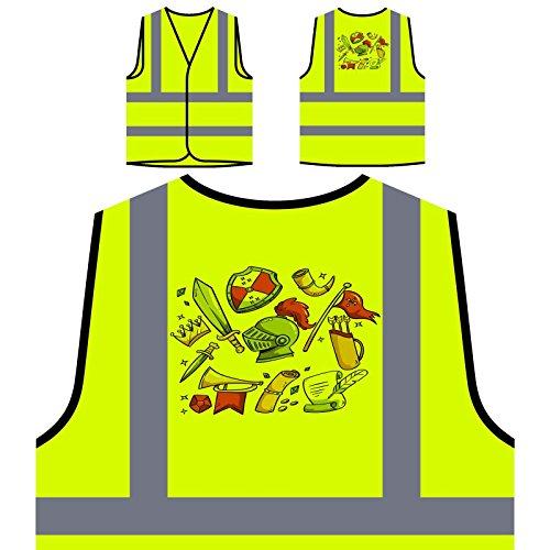 Mittelalterliche Elemente Lustiger Stil Personalisierte High Visibility Gelbe Sicherheitsjacke Weste r792v