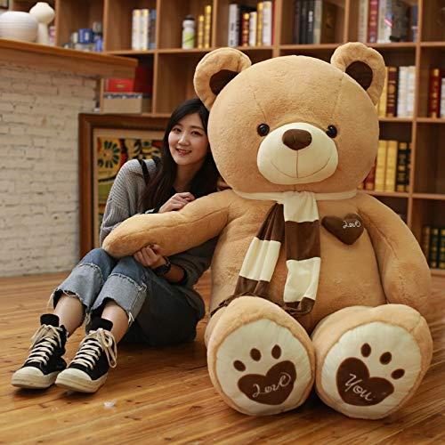 Cgdz plus size semi-rifinito teddy bear sweet heart american giant bear cappotto peluche orso bruno diy giocattoli per bambini regalo di compleanno giallo 120 cm