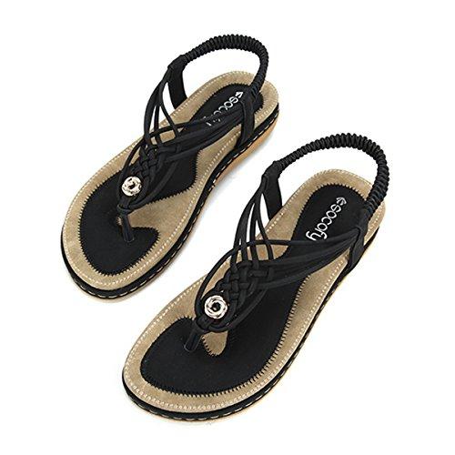 Camfosy Damen Flach Sommer Sandalen,Frauen Strand Elastischen Gemütlich Webmuster Schuhe Knöchelriemchen FreizeitUrlaub rutschfest Sommerschuhe - Schwarz Blau Beige Schwarz 37 EU -