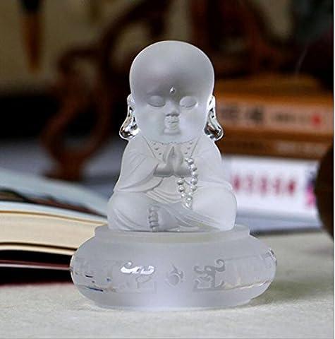 Cadeau de processus Verre statue de Bouddha Décoration Accessoires pour voiture Petit sable Moine haut de gamme , white jade color