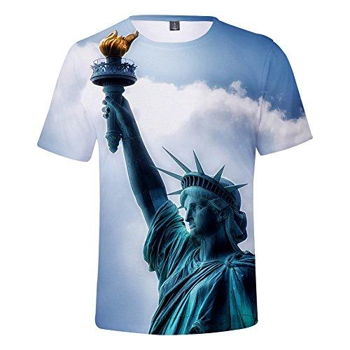 CTOOO 2018 Sommer Unisex Herren Mode 3D Statue of Liberty Oversize T-Shirt Kurzarm Kinder Mädchen Shirt Loose Fit XXS-XXXXL