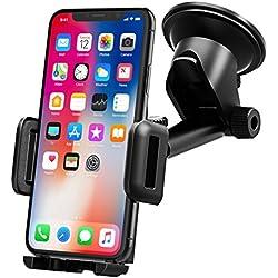 Support Tableau de Bord Téléphone Support Voiture Téléphone GPS Pare-Brise Mpow Support Voiture pour Smartphone Rotation 360° Bras Prolongé Angle Télescopique Support Voiture iPhone Huawei etc.