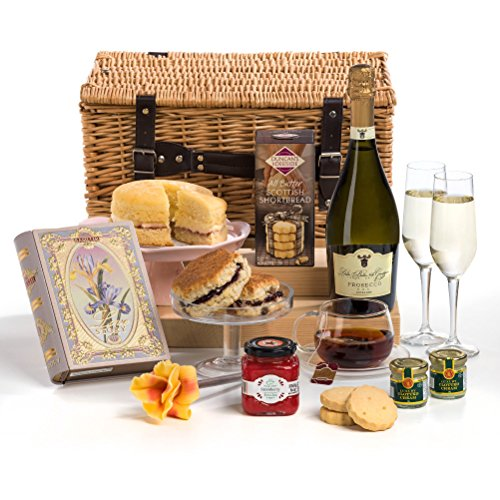 Celebratory High Tea - Luxury Prosecco Cream Tea Hamper Basket - FREE UK Delivery