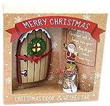 Miniatura natalizia della porta incantata dell'elfo e barattolo con lista dei desideri, colore marrone