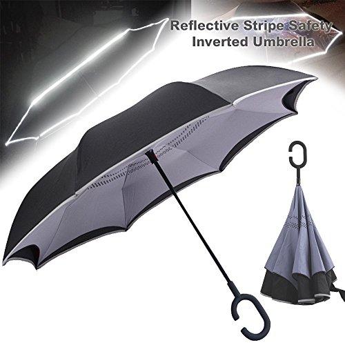 Double Layer hinhängen seitenverkehrt Regenschirm mit SOS reflektierenden Streifen Sicherheit Auto Rückseite Faltbarer Regenschirm für Damen & Herren–winddicht wasserdicht Auto, LIGHT-gray