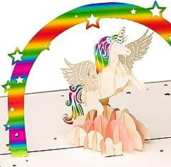 Idea Regalo - Biglietto di auguri per il compleanno con unicorno, arcobaleno e nuvole rosa, biglietto 3D con effetto pop-up, realizzato a mano, biglietto di auguri
