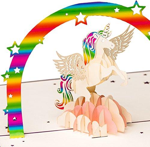Geburtstagskarte 'Einhorn mit Regenbogen auf rosa Wolke', 3D Pop up, handgefertigt,...