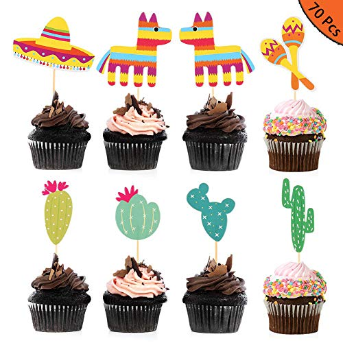 FANTESI 70 Stück Kaktus-Kuchenaufsätze Mexikanische Cupcake-Topper Esel Sombrero Kuchen Picks für Obstkuchen Dekorationen Fiesta West Tropische Kakteen Geburtstag Party Supplies
