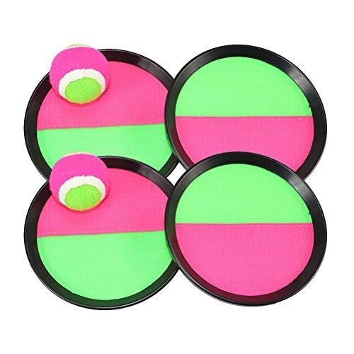 YeahiBaby Kinder Ball Spielen Spiel Set 6 Stück Paddel Tennis Spielzeug Ballwurf Fangen Sport Ball (4 x Bat 2 x Ball)