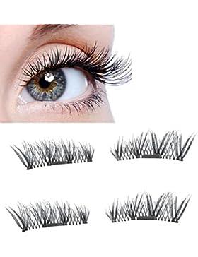 Eye Lashes, jiangfu moda magnético de ojo de pestañas 3d imán de falsas pestañas, negro, A