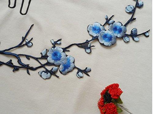 Yeah ricamato prugna fiore fiore applique patch sew diy craft di