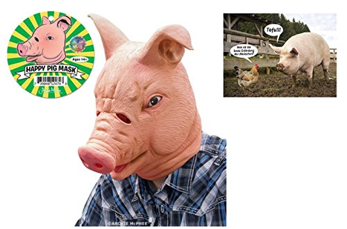 Schweine Maske aus Latex & Postkarte