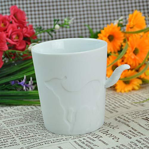Erjialiu 5 Stil Tier Becher matt Keramik leuchter Wasser tassen eichhörnchen Katze Kaninchen Hirsch Pferd Design Tee Kaffee Milch tassen,Stil 4 -