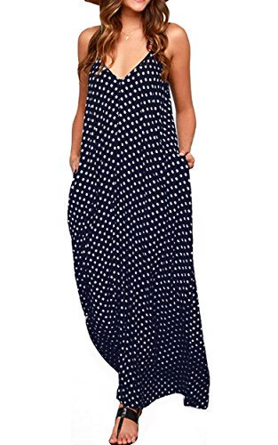 LILBETTER Frauen lose V-Ausschnitt Ärmellos Dot Print Boho Langes Maxi Kleid (Navy blau L) Circa Dot
