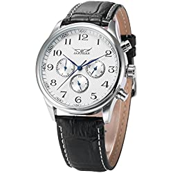 AMPM24 Mechanical Analog White Dial 6 Hands Mens Sport Leather Wrist Watch Gift + AMPM24 Gift Box PMW036