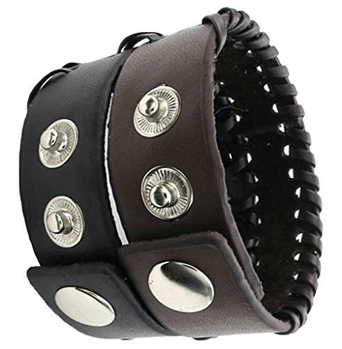 Delle donne degli uomini del braccialetto del braccialetto polsino largamente da polso in pelle intrecciata cavo regolabile Marrone Fit 6.5-7.5 pollici AieniD di AieniD