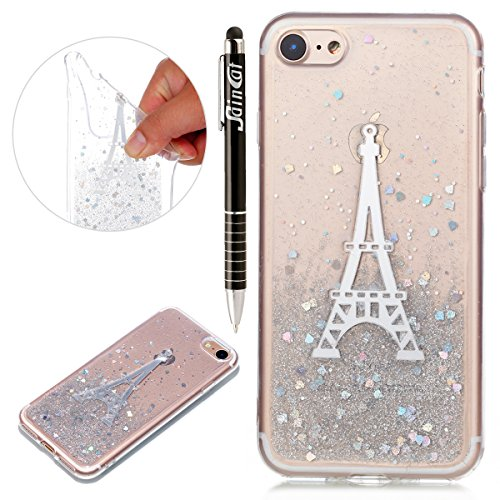 Custodia iPhone 7, iPhone 7 Cover Silicone Trasparente, SainCat Cover per iPhone 7/8 Custodia Silicone Morbido, Shock-Absorption Custodia Ultra Slim Transparent Silicone Case Ultra Sottile Morbida Gel Torre