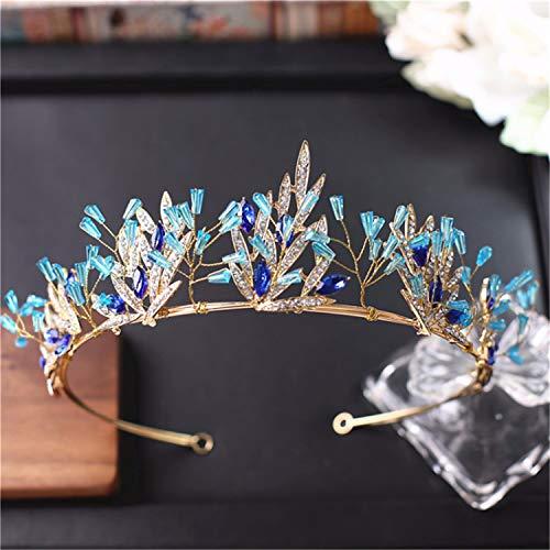 Handgemachte Blaue Kristall Hochzeit Krone Tiara Braut Haarschmuck Princess Diadem Headpiece Hair Jewelry (Tiara Blau Gold)