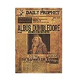 Harry Potter Albus Dumbledore Principal Vintage Rétro Kraft Affiche Film Classique Autocollants Muraux Daily Prophet Décoration 42x30cm