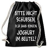 Shirt & Stuff / Turnbeutel mit Spruch/Bedruckte Sportbeutel - Sprüche auswählbar/Baumwolle schwarz/Nicht schubsen joghurt im Beutel