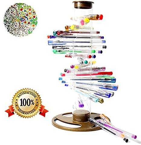Gel Pens, 40 Gel Pen Set, Bright Knight Quality Gel Ink Pens, Multi Coloured, Fine Ink Ballpoint Pens, Neon, Pastel, Metalic, Glitter. Free Spiral Stand. Ideal for Adult and Childrens Colouring, Mandalas Adult Therapy and Secret Garden. Full Product Replacement