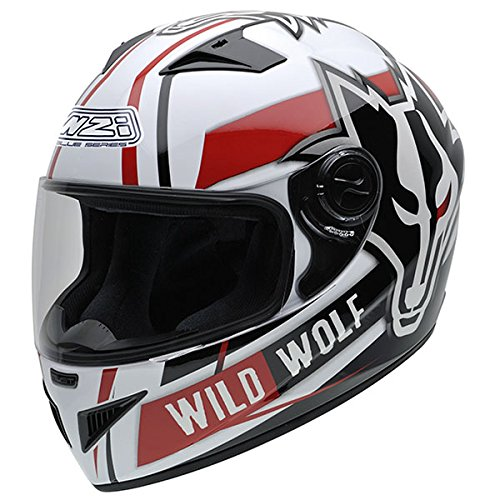 NZI 150200G607 Must Wild Wolf Casco de Moto, Color Blanco, Negro...