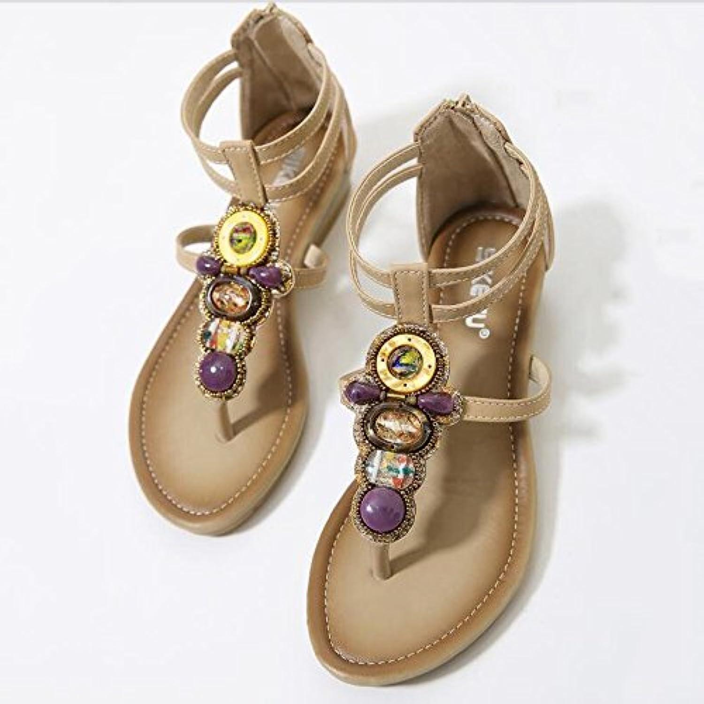 XIAOLIN Sommer Perlen Toe Mid Heel Sandaletten ethnischen Stil Slope Ferse Klippzehe Sandalen Frauen Sandalenö