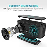 DOSS SoundBox Bluetooth Speaker,Wireless Bluetooth 4.0 Touch Speakers with 12W HD Sound and Bold Bass, Handsfree, 12H playtime for Echo Dot, iPhone, iPad, Samsung, tablet, Gift ideasblack from DOSS