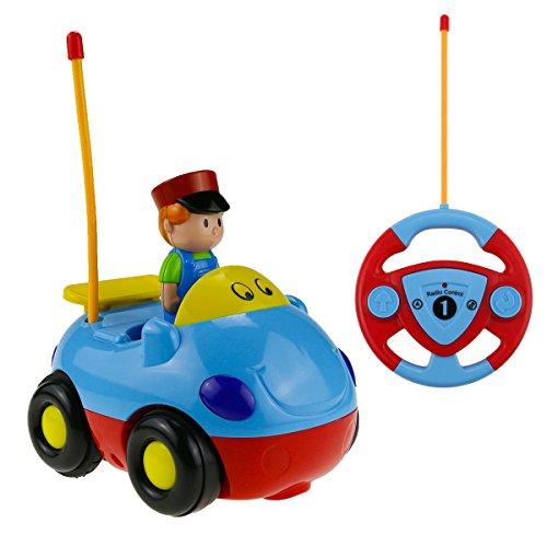 Estela RC Cartoon Autos, Rennauto Spielzeug Cartoon Radio Kontrolle RC Action Figur Radiosteuerung Radio kontrollierte Autos mit Musik für Kinder Baby(Blue)