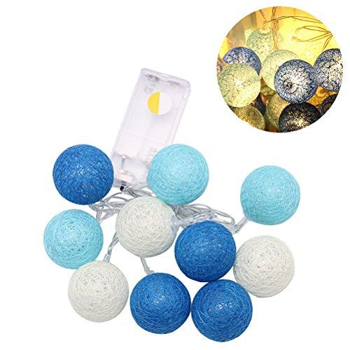 ledmomo 2.3M 20LED Lichter der Nacht Fee String Ball von Baumwolle für die Dekoration der Haus des Garten (blau warm weiß) -