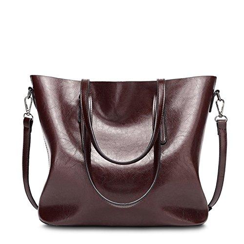 VANCOO delle signore delle donne borsa di cuoio Large Tote Bag spalla della borsa del 1108 vino rosso