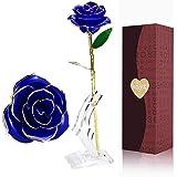 Rosa de Oro 24K,Rosa Eterna Flores Chapadas en Oro con Base Soporte Transparente y Caja de Regalo para el Día de San Valentín