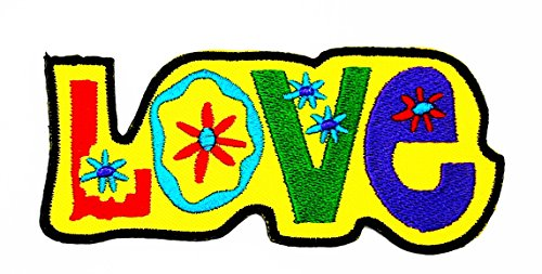 rabana Love Peace Sign Hippie Boho Retro Flower Power Summer Of Love Hip Cartoon Kids Kinder Cute Animal Patch für Heimwerker-Applikation Eisen auf Patch T Shirt Patch Sew Iron on gesticktes Badge Schild Kostüm