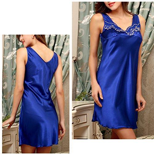 Zhhlaixing Fashion SQ118 Women's Lingerie Satin Chemise Strap Nightgowns Sleepshirts Royal Blue