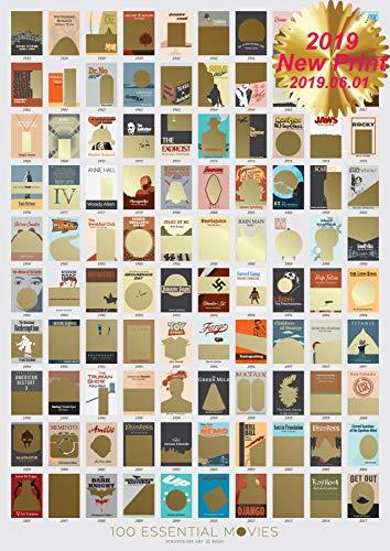 100Filme scratch-off wie im Kino Eimer Liste Film Poster (300gsm)-18x 24Rubbel Essential Film Diagramm Theater Wand Art Decor für das Wohnzimmer mit Überraschung abkratzen movie-related Artwork